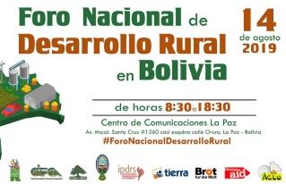 La Paz será el escenario del Foro Nacional de Desarrollo Rural