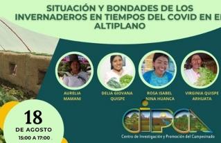 El martes 18 se realizará el foro virtual: Situación y bondades de los invernaderos en tiempos de COVID-19 en el Altiplano, experiencias desde las mujeres